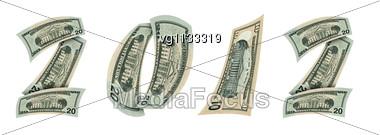 Bended Twenty Dollars Bill And Ten Dollars Making New 2012 Year Symbol Stock Photo