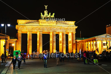 BERLIN - OCTOBER 2: Brandenburg Gate On October 2, 2014 In Berlin, Germany. It's An 18th Century Neoclassical Triumphal Arch In Berlin, One Of The Most Well-known Landmarks Of Germany Stock Photo