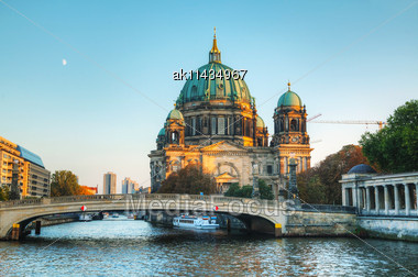 Berliner Dom Cathedral Early In The Evening Stock Photo