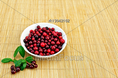 Berry Lingonberry In A White Bowl, Two Twigs With Berries And Green Leaves On A Bamboo Mat Stock Photo