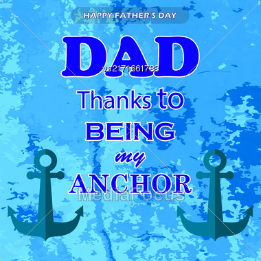 Best Dad Poster On Blue Grunge Background. Happy Fathers Day Design Stock Photo