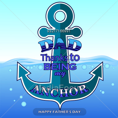 Best Dad Poster On Blue Water Background. Happy Fathers Day Design Stock Photo