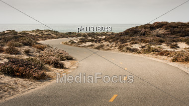 Bicycle Path Winding Through Sand Dunes By The Ocean Stock Photo