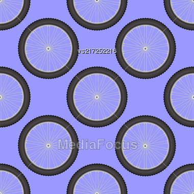 Bicycle Wheel Icon Seamless Pattern Isolated On Blue Background Stock Photo