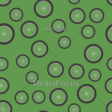 Bicycle Wheel Icon Seamless Pattern Isolated On Green Background Stock Photo