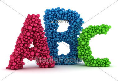 Big A, B, C Letters Made From Colored Bubbles Stock Photo