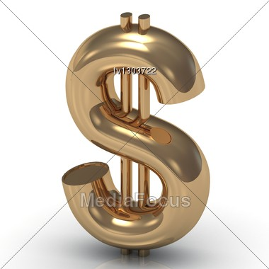 Big Beautiful Gold Dollar Stock Photo