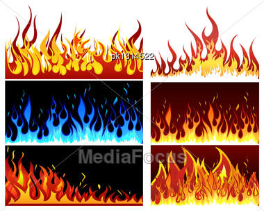 Big Collection Of Fire Elements. Fully Editable EPS 10 Vector Illustration Stock Photo