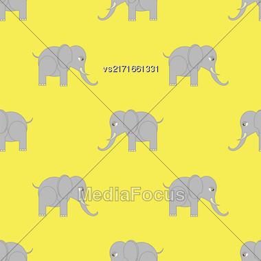 Big Elephant Seamless Pattern. Zoo Animal Background Stock Photo