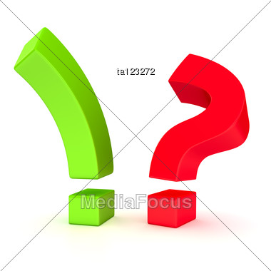 Big Exclamation Mark And Question Mark In Opposition Stock Photo