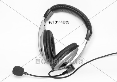 Big Headset With A Microphone. Isolated Over White Stock Photo
