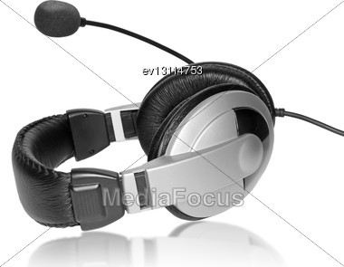 Big Headset With A Microphone. On Plate Glass. Isolated Stock Photo