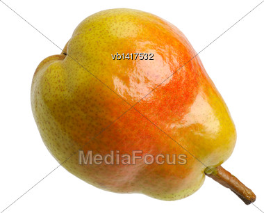 Big Juicy Yellow Red Pear, Isolated Stock Photo