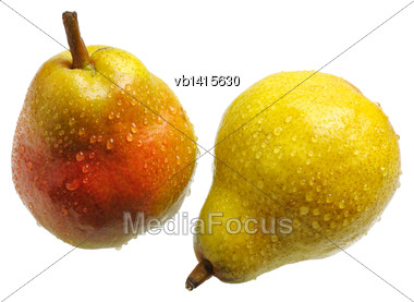 Big Juicy Yellow Red Pears, Isolated Stock Photo