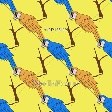 Big Orange And Blue Parrot Isolated On Yelllow Background. Bird Pattern Stock Photo
