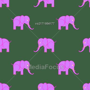 Big Pink Elephant Seamless Pattern. Zoo Animal Background Stock Photo
