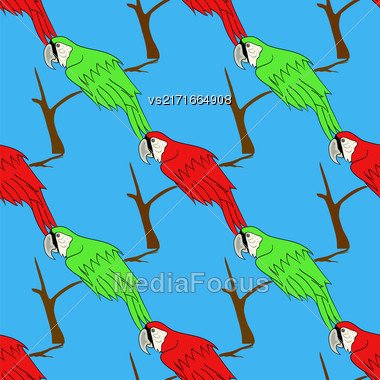 Big Red And Green Parrot Isolated On Blue Background. Bird Pattern Stock Photo