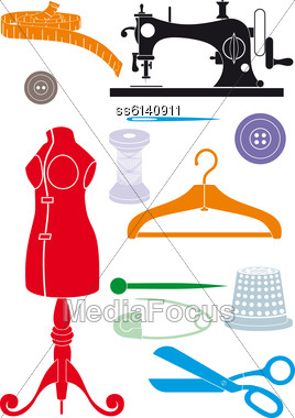 Big Set Of Sewing Accessories. Simple Shapes To Cut Or Icons Stock Photo
