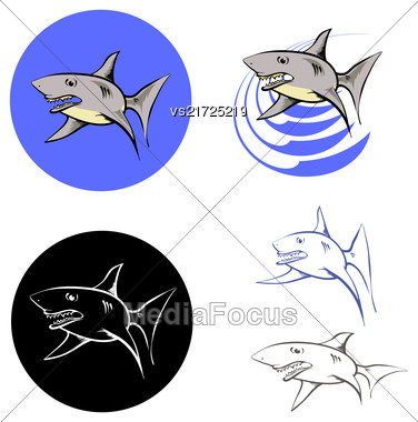 Big Shark Icons Isolated On White Background Stock Photo