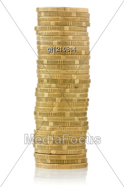 Big Stack Of Yellow Coins Stock Photo