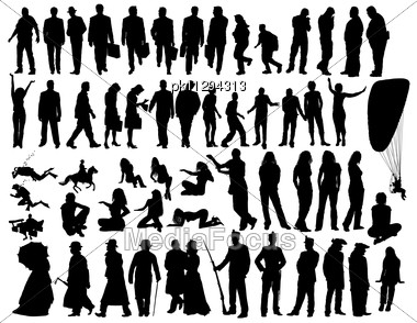 Big Vector Collection Of Different Silhouettes People Stock Photo