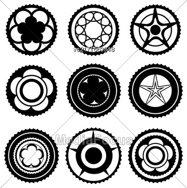 Bike Chainrings And Rear Sprocket. Set Of Chainwheels Silhouettes Stock Photo