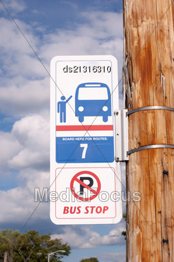 Billboard On Bus Stop For Your Advertising Situated Stock Photo