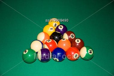 Billiard Balls - Pool, On A Green Table. Stock Photo