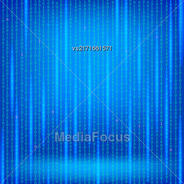 Binary Code Blue Background. Concept Binary Code Numbers. Algorithm Binary, Data Code, Decryption And Encoding Stock Photo