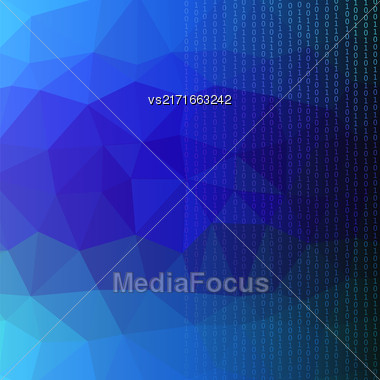 Binary Code Blue Polygonal Background. Concept Binary Code Numbers. Algorithm Binary, Data Code, Decryption And Encoding Stock Photo