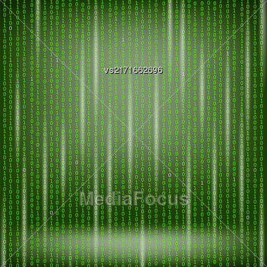 Binary Code Green Background. Concept Binary Code Numbers. Algorithm Binary, Data Code, Decryption And Encoding Stock Photo