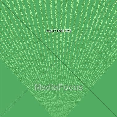 Binary Code Green Background. Concept Numbers. Algorithm Decryption And Encoding Stock Photo