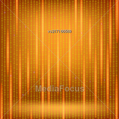 Binary Code Red Background. Concept Binary Code Numbers. Algorithm Binary, Data Code, Decryption And Encoding Stock Photo