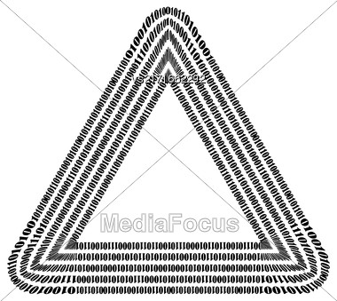 Binary Code Triangle. Numbers Concept. Algorithm, Data Code, Decryption And Encoding Stock Photo