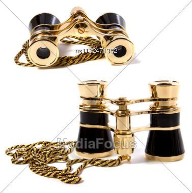 Binoculars Isolated On White Background Stock Photo