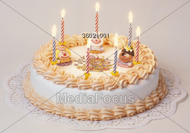 Birthday Cake With Seven Candles Stock Photo