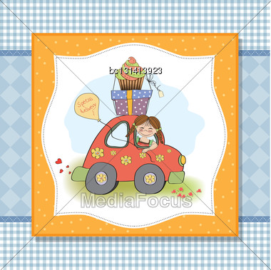 Birthday Card With Funny Little Girl In Vector Format Stock Photo