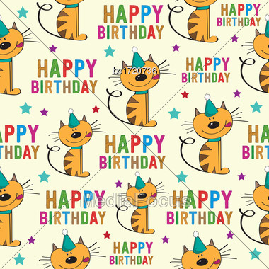 Birthday Seamless Pattern With Cats, Vector Format Stock Photo