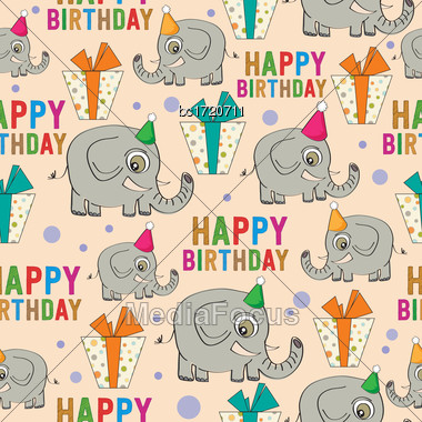 Birthday Seamless Pattern With Elephants And Gifts, Vector Format Stock Photo