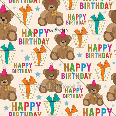 Birthday Seamless Pattern With Teddy Bear And Gifts, Vector Format Stock Photo