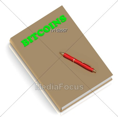 BITCOINS BOOK - Inscription Of Green Letters On Gold Book On White Background Stock Photo