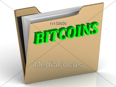 BITCOINS - Bright Green Letters On A Folder On A White Background Stock Photo