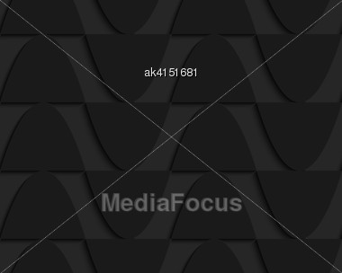 Black 3D Seamless Background. Dark Pattern With Realistic Shadow.Black 3d Horizontal Touching Semi Ovals Stock Photo