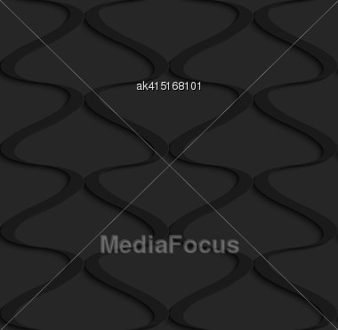 Black 3D Seamless Background. Dark Pattern With Realistic Shadow.Black 3d Wavy Vertical Grid Stock Photo