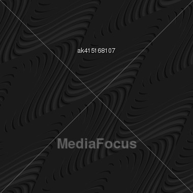 Black 3D Seamless Background. Dark Pattern With Realistic Shadow.Black 3d Diagonal Merging Waves Stock Photo