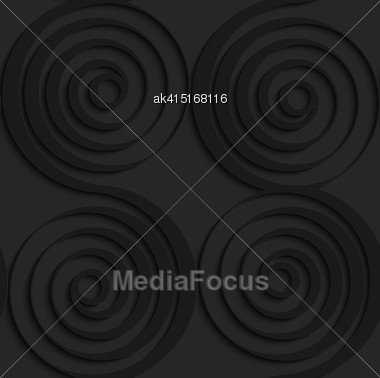 Black 3D Seamless Background. Dark Pattern With Realistic Shadow.Black 3d Connecting Spirals With Thick Edge Stock Photo