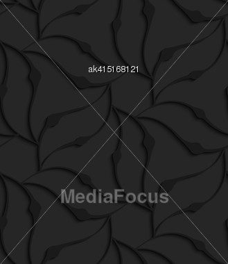 Black 3D Seamless Background. Dark Pattern With Realistic Shadow.Black 3d Abstract Wavy Floral Forming Flower Stock Photo