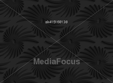 Black 3D Seamless Background. Dark Pattern With Realistic Shadow.Black 3d Abstract Shapes With Leaves Stock Photo
