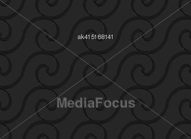 Black 3D Seamless Background. Dark Pattern With Realistic Shadow.Black 3d Horizontal Spiral Thin Waves Stock Photo