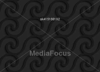 Black 3D Seamless Background. Dark Pattern With Realistic Shadow.Black 3d Horizontal Spiral Waves Stock Photo